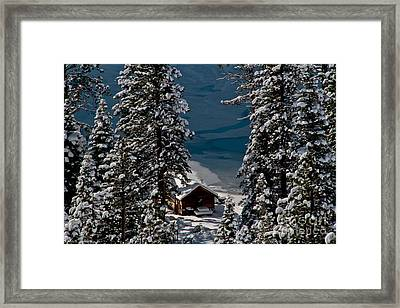 Cabin In The Woods Framed Print by Mitch Shindelbower