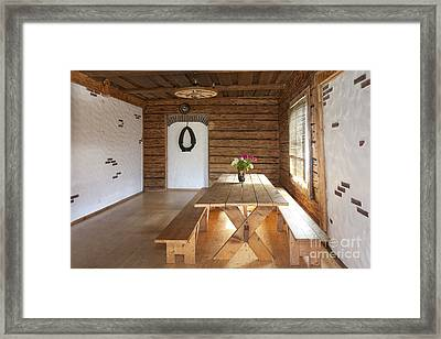 Cabin Interior With A Picnic Table Framed Print