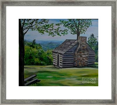 Framed Print featuring the painting Cabin On The Blue Ridge Parkway In Va by Julie Brugh Riffey