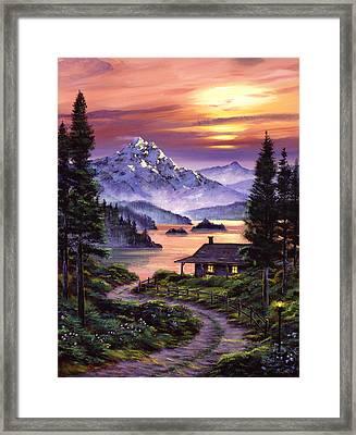 Cabin On The Lake Framed Print by David Lloyd Glover