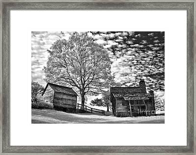 Cabin Under Buttermilk Skies I Framed Print by Dan Carmichael