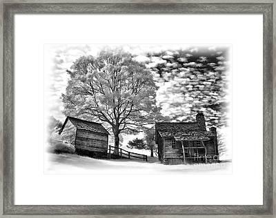 Cabin Under Buttermilk Skies Vignette Framed Print by Dan Carmichael