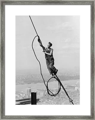 Cable Connection Framed Print by Lewis W Hine
