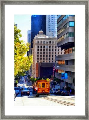 Cablecar On San Francisco California Street  . 7d7176 Framed Print by Wingsdomain Art and Photography