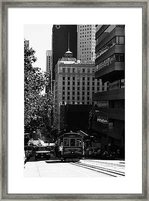 Cablecar On San Francisco California Street . Bw . 7d7176 Framed Print by Wingsdomain Art and Photography
