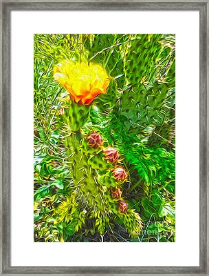 Framed Print featuring the painting Cactus Flower - 02 by Gregory Dyer
