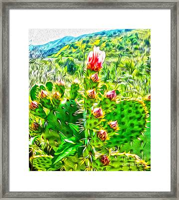 Framed Print featuring the painting Cactus Flower by Gregory Dyer