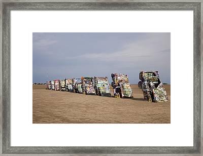 Cadillac Ranch Is A Public Art Framed Print by Everett
