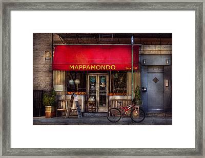 Cafe - Ny - Chelsea - Mappamondo  Framed Print by Mike Savad