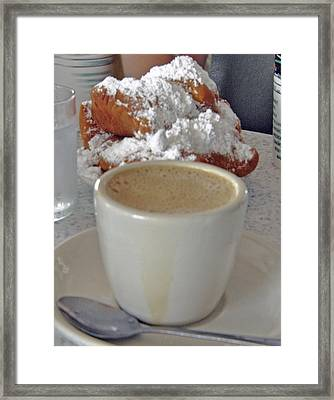 Cafe Au Lait And Beignets Framed Print by Helen Haw