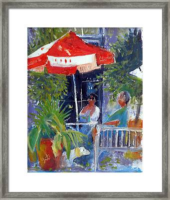 Framed Print featuring the painting Cafe by Gertrude Palmer