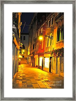 Cafe In Venice Framed Print by Alberta Brown Buller
