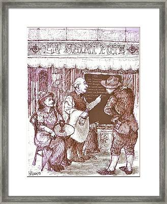 Cafe Menu Framed Print by Herb Russel