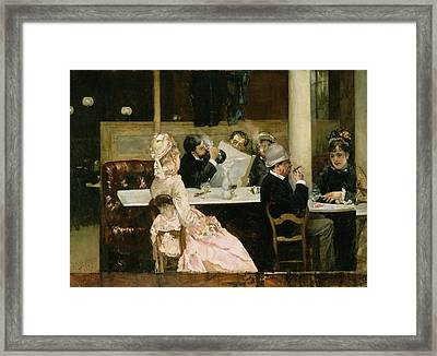 Cafe Scene In Paris Framed Print by Henri Gervex