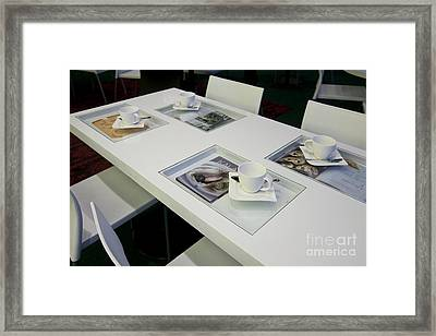 Cafe Table With Cookbooks Framed Print by Jaak Nilson