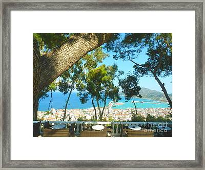 Cafe Terrace At Bohali Overlooking Zante Town Framed Print by Ana Maria Edulescu