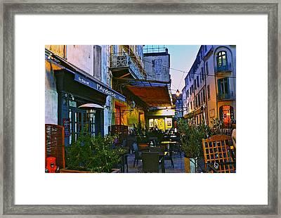 Cafe Terrace On The Place Du Forum Framed Print by Eric Tressler
