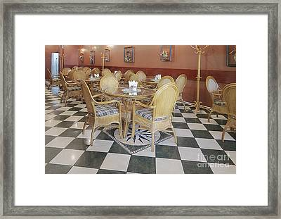 Cafe With Rattan Furniture Framed Print