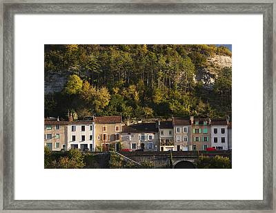 Cahors, Walterfront Buildings Framed Print by Walter Bibikow
