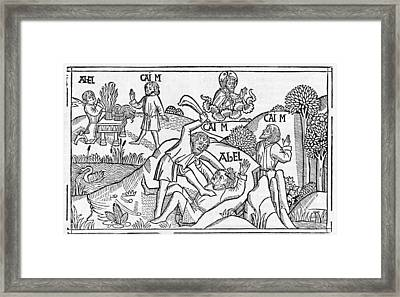 Cain And Abel, 16th-century Bible Framed Print