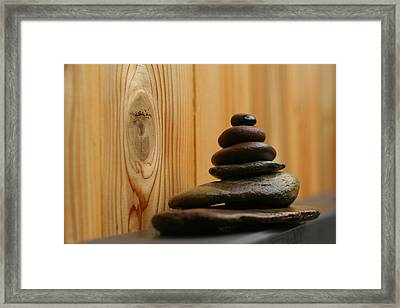 Cairn Meditation Stones Framed Print by Heidi Hermes