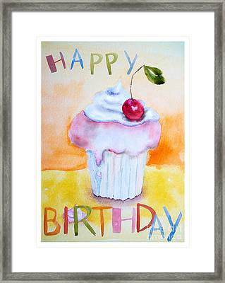 Cake With Insription Happy Birthday Framed Print
