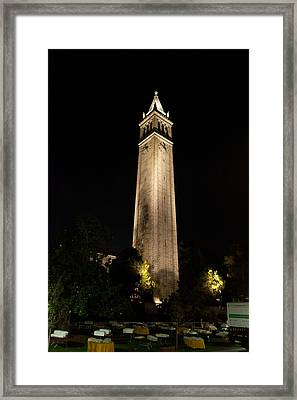 Cal Sather Tower Lights Up The Night Framed Print by Replay Photos