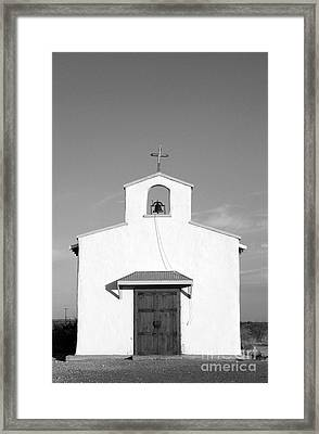 Calera Mission Chapel Facade In West Texas Black And White Framed Print