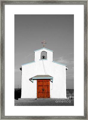 Calera Mission Chapel Facade In West Texas Color Splash Black And White Framed Print by Shawn O'Brien