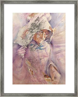 Calico Quaker Framed Print by Joan  Jones