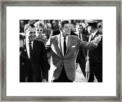 Calif. Governor Ronald Reagan Escorts Framed Print by Everett