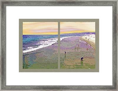 California Beachgoers Diptych 2 Framed Print by Steve Ohlsen