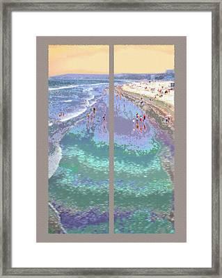 California Beachgoers Diptych Framed Print by Steve Ohlsen