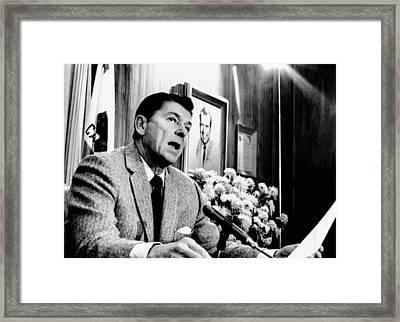 California Gov. Ronald Reagan Speaking Framed Print by Everett