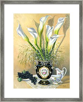 Callalillies With China And Grapes Framed Print