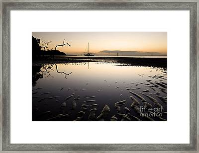 Calm Harbor At Dusk Framed Print by Matt Tilghman
