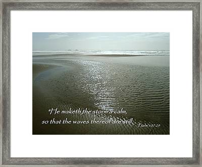 Calm Sea Psalm 107 Framed Print by Cindy Wright