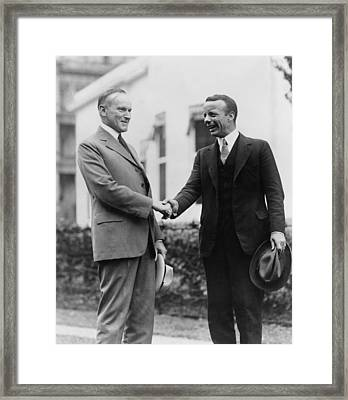 Calvin Coolidge Shakes Hands With Theodore Roosevelt Jr - C 1924 Framed Print by International  Images