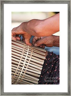 Framed Print featuring the photograph Cambodian Basket Weaver by Nola Lee Kelsey