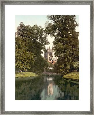Cambridge - England - St. Johns College Chapel From The River Framed Print by International  Images