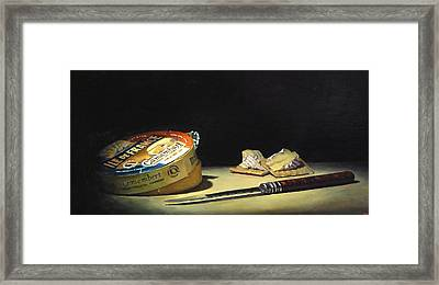 Camembert Knife And Crackers Framed Print by Jeffrey Hayes