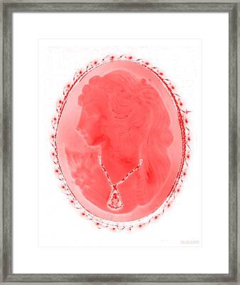 Cameo In Negative Red Framed Print by Rob Hans