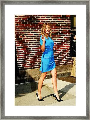 Cameron Diaz At Talk Show Appearance Framed Print by Everett