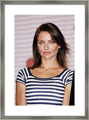 Cameron Diaz At The Press Conference Framed Print by Everett