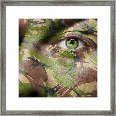 Camouflage Warrior Framed Print by Semmick Photo