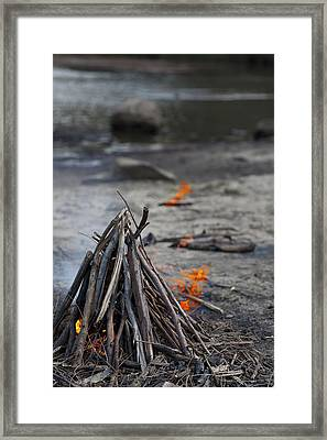 Framed Print featuring the photograph Camp Fire by Carole Hinding