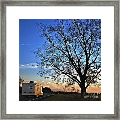 Camper Driving Down A Country Road Framed Print