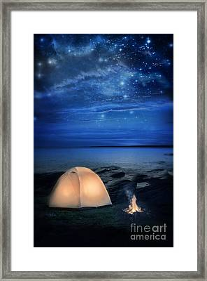 Camping Tent By The Lake At Night Framed Print by Jill Battaglia