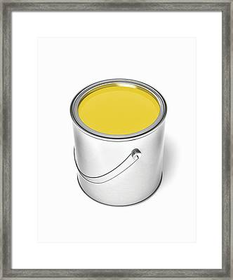 Can Of Yellow Paint Framed Print