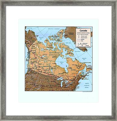 Canada Relief Map Framed Print by Pg Reproductions